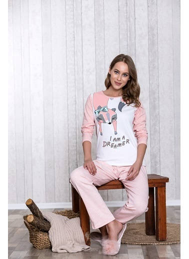 Lingabooms Kadın Pijama 4 Mevsim Pamuklu Üst Pantolon 2'li Takım Pembe